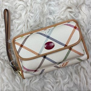 COACH CreamTattersall Plaid Clutch Style Wallet